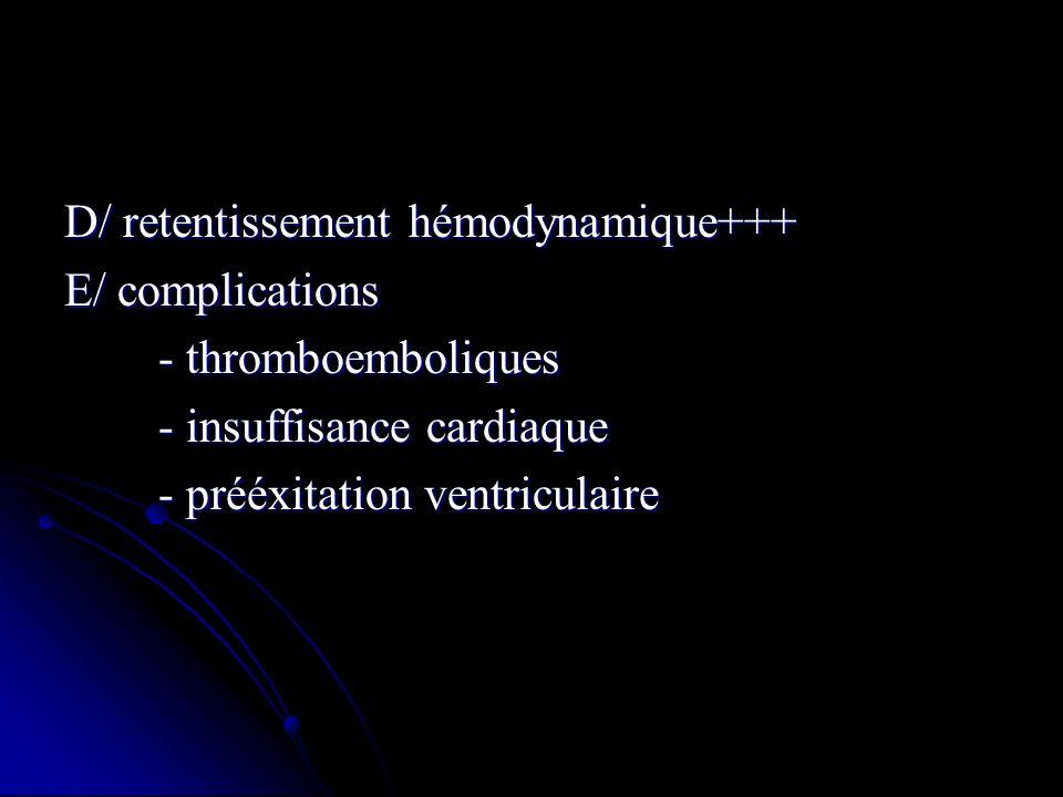D/ retentissement hémodynamique+++