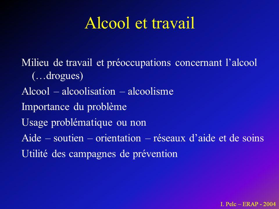 Alcool et travail Milieu de travail et préoccupations concernant l'alcool (…drogues) Alcool – alcoolisation – alcoolisme.