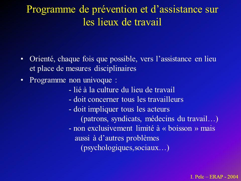 Programme de prévention et d'assistance sur les lieux de travail