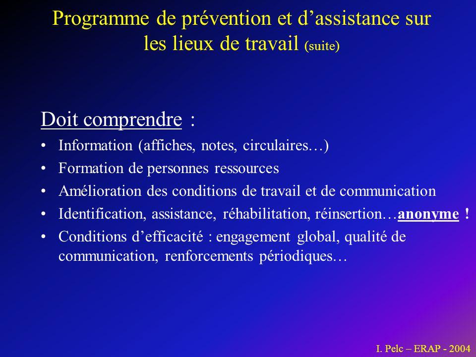 Programme de prévention et d'assistance sur les lieux de travail (suite)