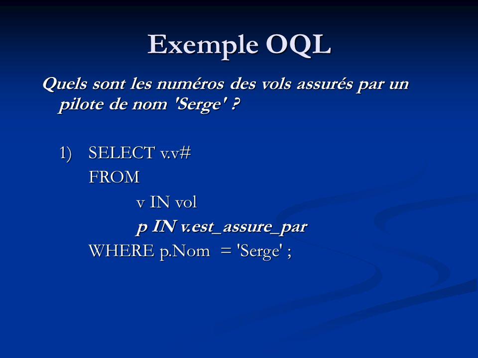 Exemple OQL Quels sont les numéros des vols assurés par un pilote de nom Serge 1) SELECT v.v#