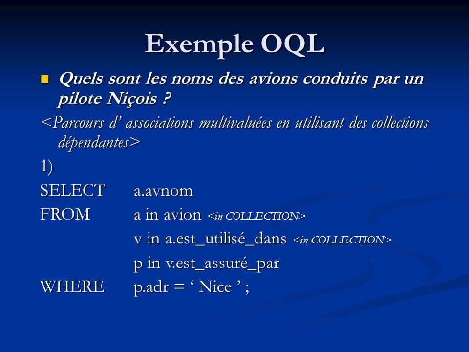 Exemple OQL Quels sont les noms des avions conduits par un pilote Niçois