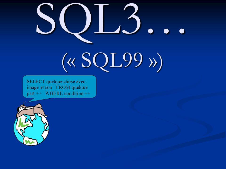 SQL3… (« SQL99 »)SELECT quelque chose avec image et son FROM quelque part ++ WHERE condition ++