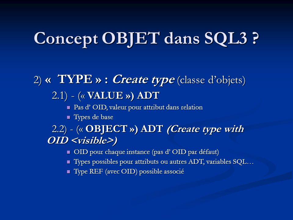 Concept OBJET dans SQL3 2) « TYPE » : Create type (classe d'objets)