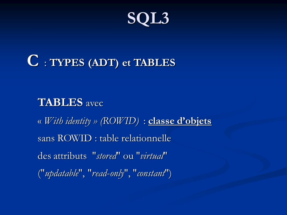 C : TYPES (ADT) et TABLES