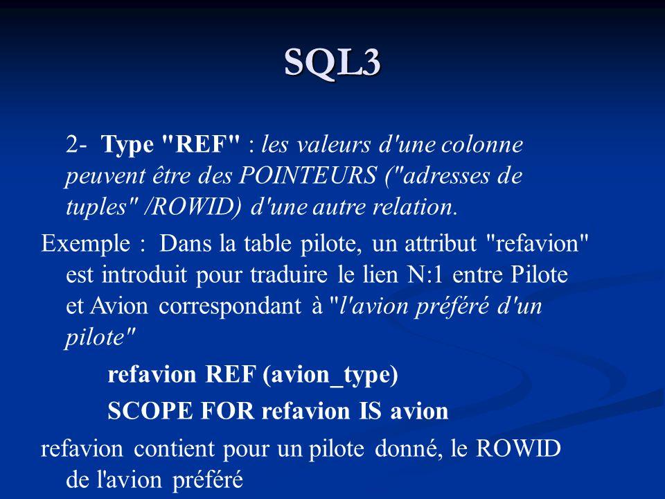SQL3 2- Type REF : les valeurs d une colonne peuvent être des POINTEURS ( adresses de tuples /ROWID) d une autre relation.