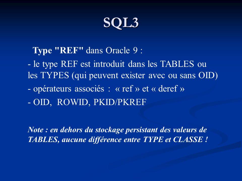 SQL3 Type REF dans Oracle 9 :