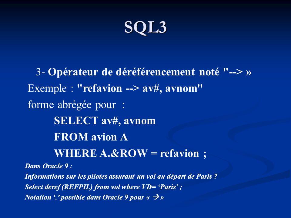 SQL3 3- Opérateur de déréférencement noté --> »
