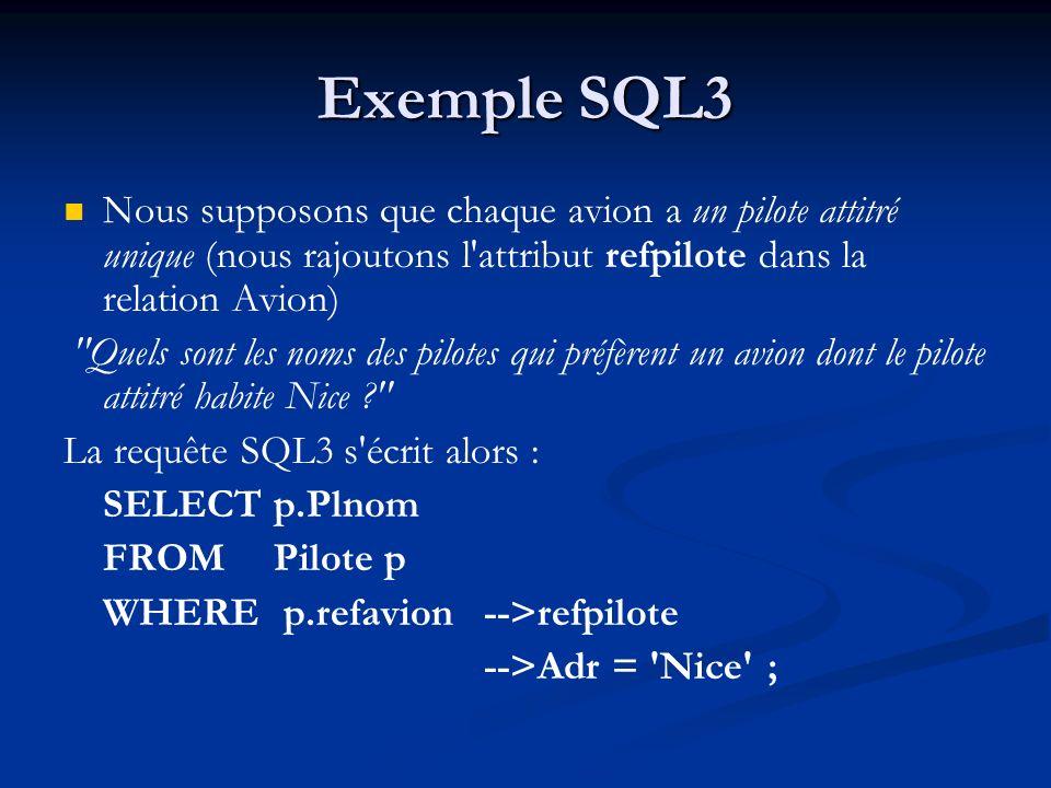 Exemple SQL3Nous supposons que chaque avion a un pilote attitré unique (nous rajoutons l attribut refpilote dans la relation Avion)