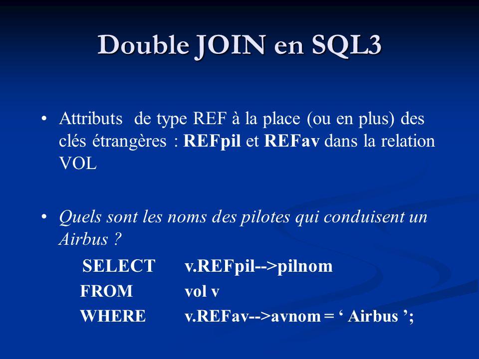 Double JOIN en SQL3 Attributs de type REF à la place (ou en plus) des clés étrangères : REFpil et REFav dans la relation VOL.