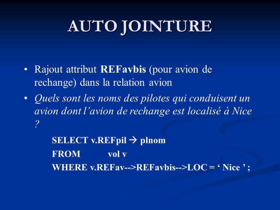 AUTO JOINTURE Rajout attribut REFavbis (pour avion de rechange) dans la relation avion.