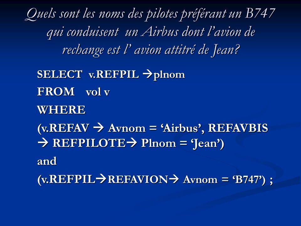 Quels sont les noms des pilotes préférant un B747 qui conduisent un Airbus dont l'avion de rechange est l' avion attitré de Jean