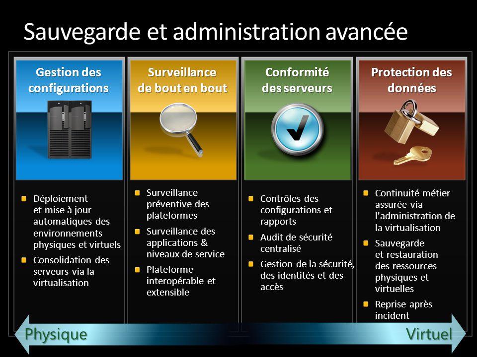 Sauvegarde et administration avancée