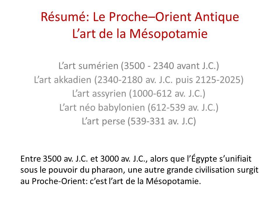 Résumé: Le Proche–Orient Antique L'art de la Mésopotamie