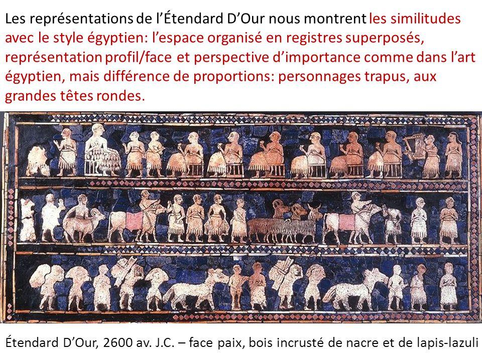 Les représentations de l'Étendard D'Our nous montrent les similitudes avec le style égyptien: l'espace organisé en registres superposés, représentation profil/face et perspective d'importance comme dans l'art égyptien, mais différence de proportions: personnages trapus, aux grandes têtes rondes.
