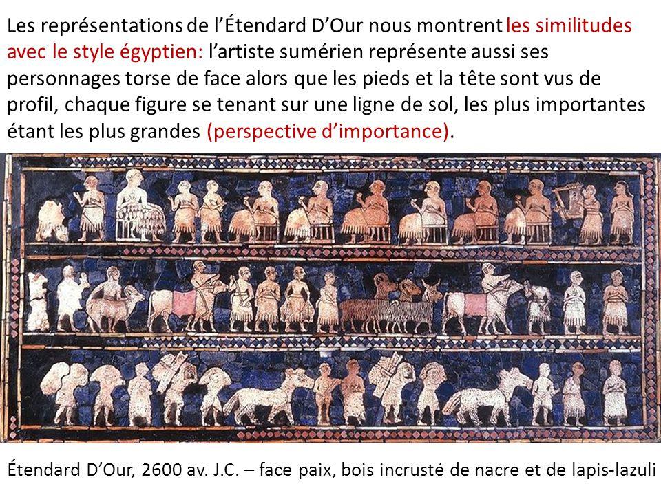 Les représentations de l'Étendard D'Our nous montrent les similitudes avec le style égyptien: l'artiste sumérien représente aussi ses personnages torse de face alors que les pieds et la tête sont vus de profil, chaque figure se tenant sur une ligne de sol, les plus importantes étant les plus grandes (perspective d'importance).