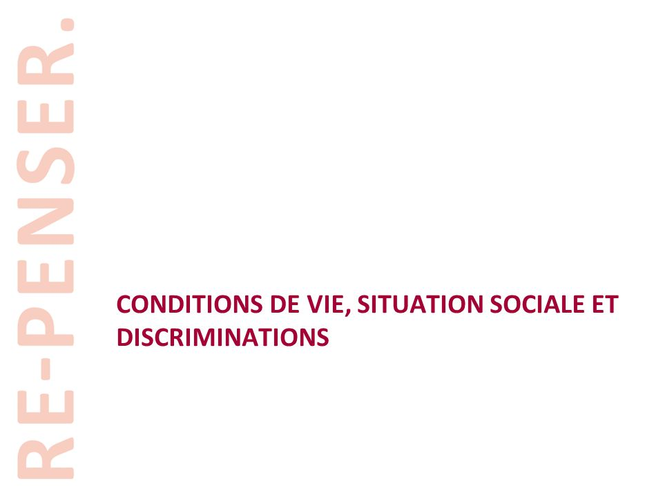 conditions de vie, SITUATION Sociale et discriminations