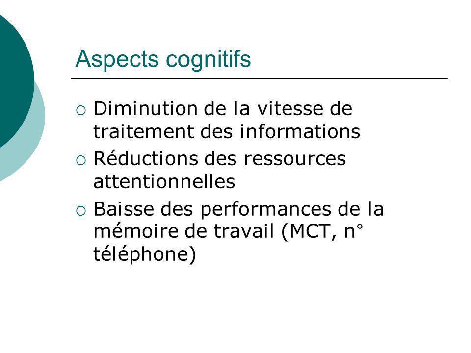 Aspects cognitifs Diminution de la vitesse de traitement des informations. Réductions des ressources attentionnelles.