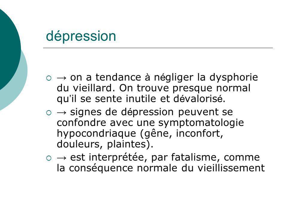 dépression → on a tendance à négliger la dysphorie du vieillard. On trouve presque normal qu'il se sente inutile et dévalorisé.
