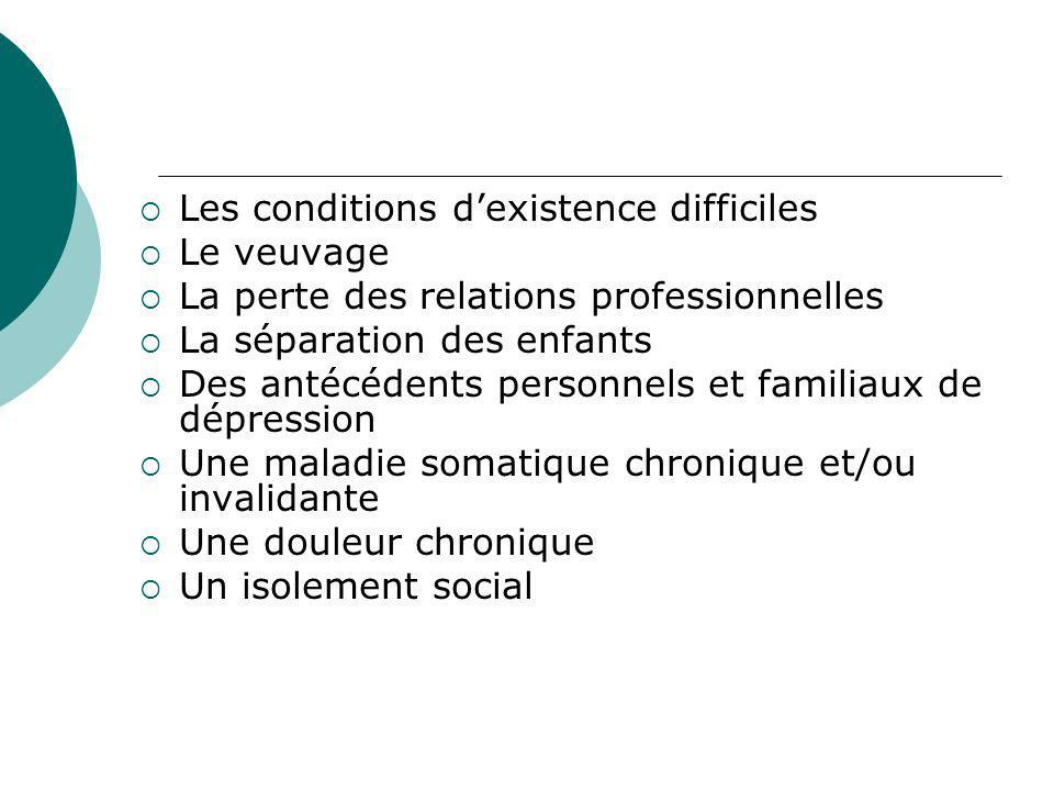 Les conditions d'existence difficiles
