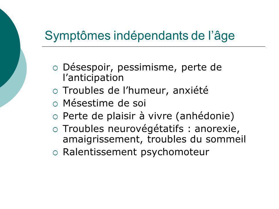 Symptômes indépendants de l'âge