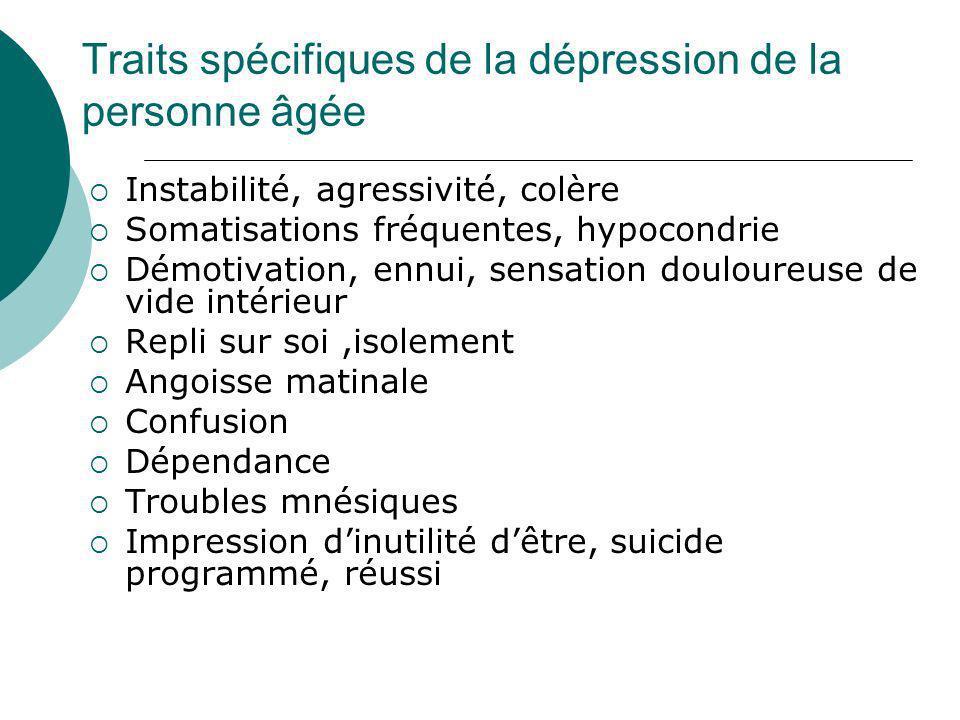 Traits spécifiques de la dépression de la personne âgée