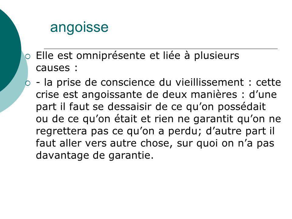angoisse Elle est omniprésente et liée à plusieurs causes :