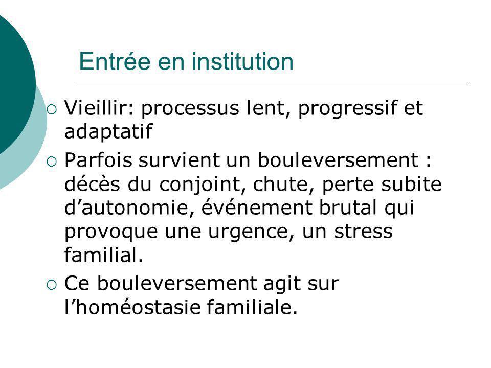 Entrée en institution Vieillir: processus lent, progressif et adaptatif.