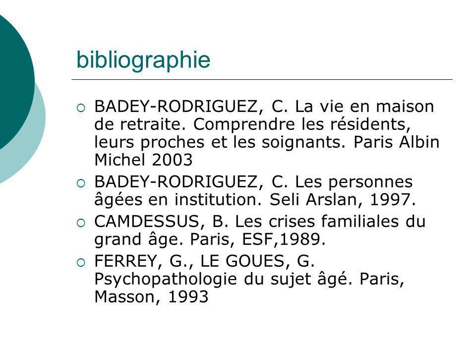 bibliographie BADEY-RODRIGUEZ, C. La vie en maison de retraite. Comprendre les résidents, leurs proches et les soignants. Paris Albin Michel 2003.