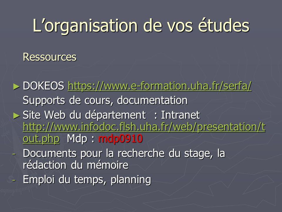 L'organisation de vos études