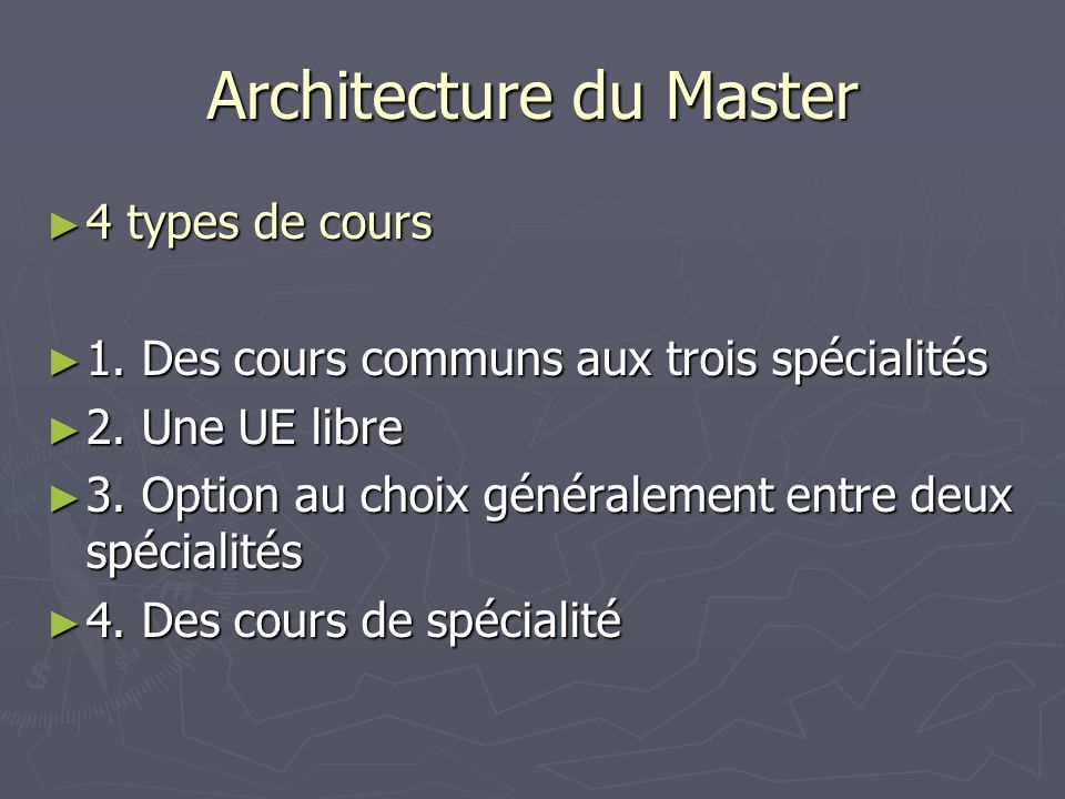 Architecture du Master