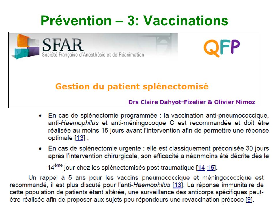 Prévention – 3: Vaccinations