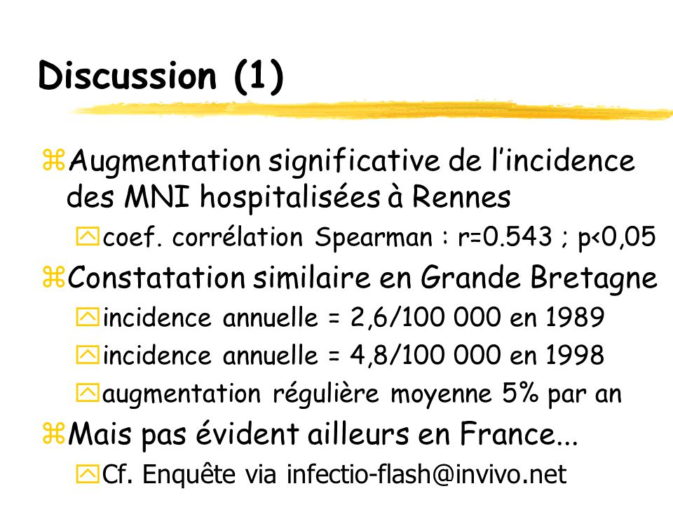 Discussion (1) Augmentation significative de l'incidence des MNI hospitalisées à Rennes. coef. corrélation Spearman : r=0.543 ; p<0,05.