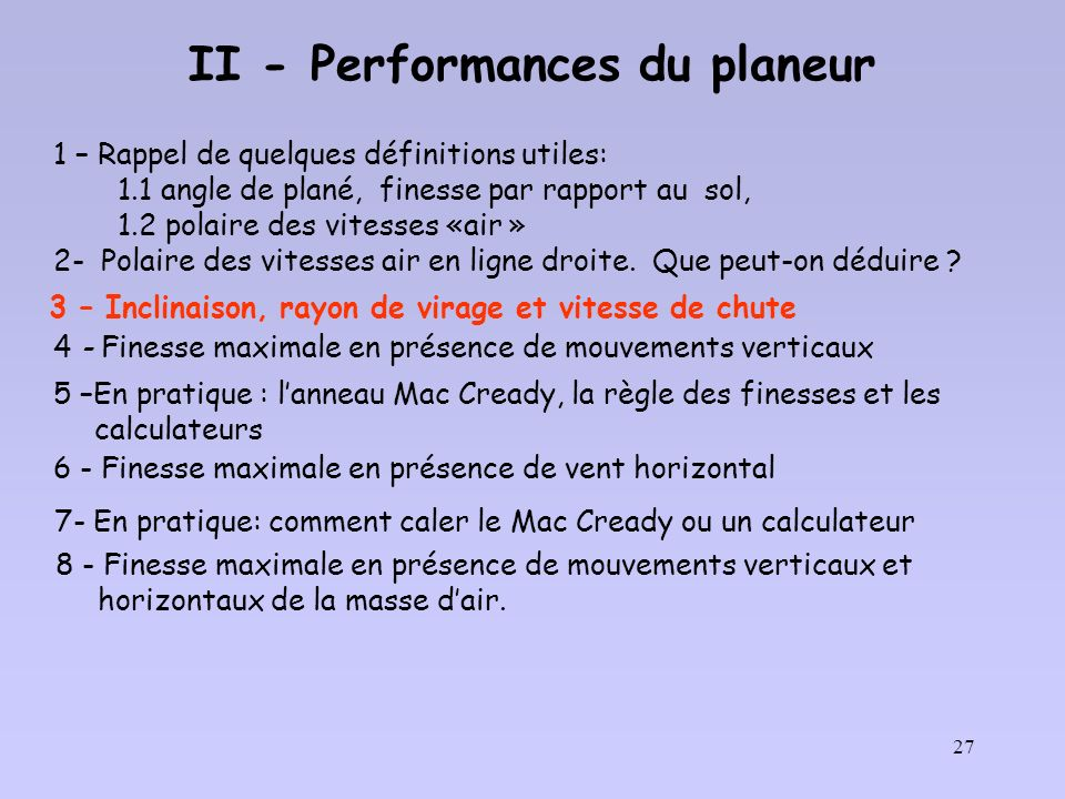 II - Performances du planeur