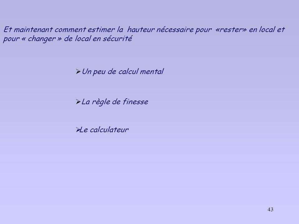 Et maintenant comment estimer la hauteur nécessaire pour «rester» en local et pour « changer » de local en sécurité