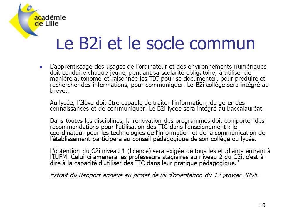 Le B2i et le socle commun