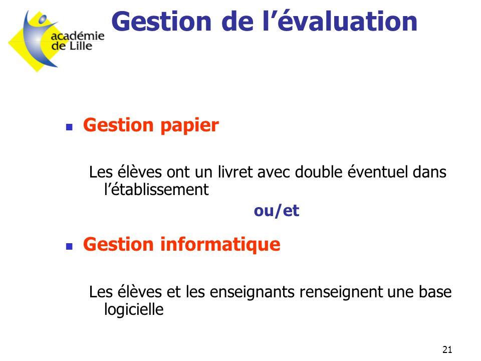 Gestion de l'évaluation