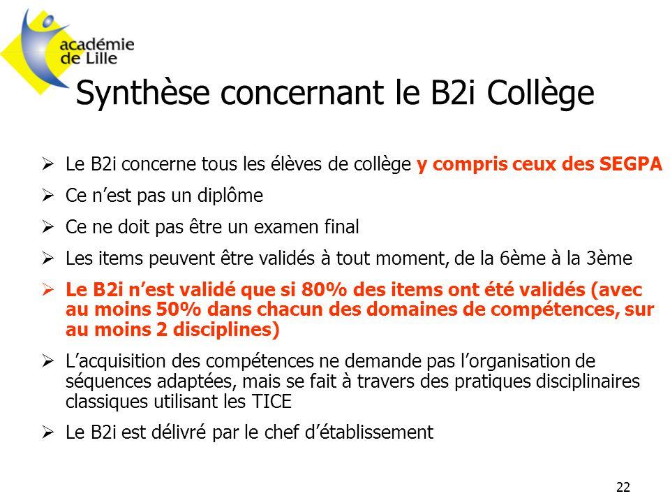 Synthèse concernant le B2i Collège