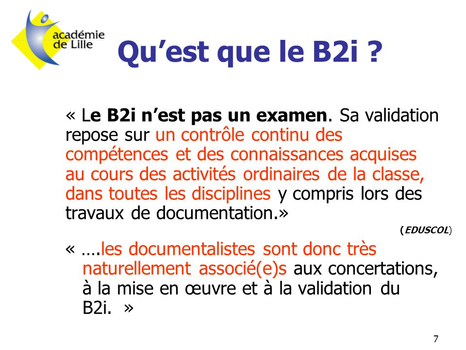 Qu'est que le B2i