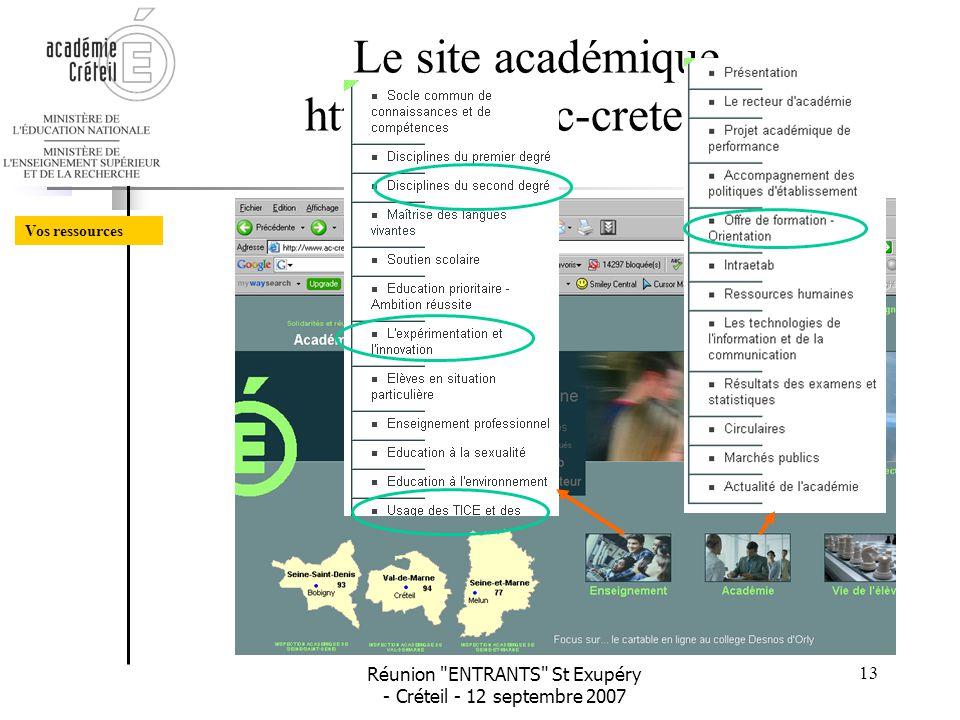 Le site académique http://www.ac-creteil.fr/