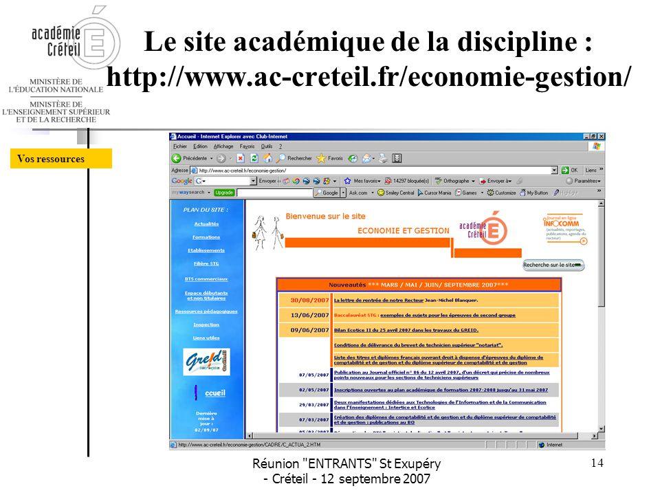 Le site académique de la discipline : http://www. ac-creteil