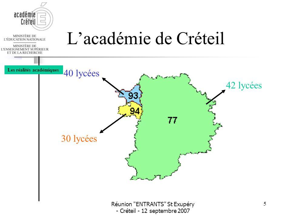 L'académie de Créteil 40 lycées 42 lycées 30 lycées