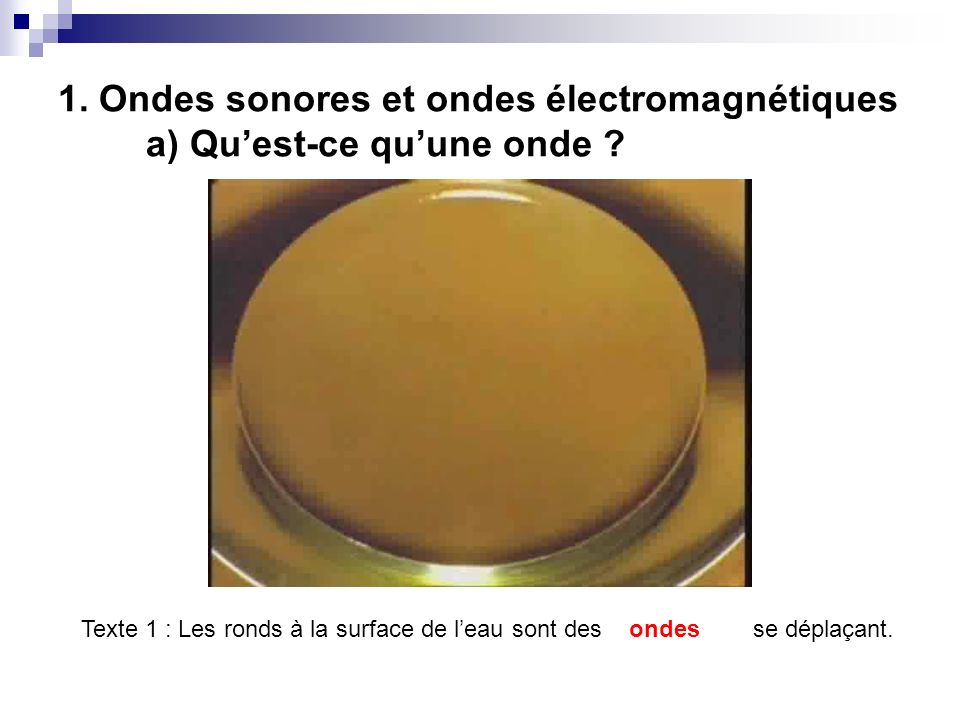 1. Ondes sonores et ondes électromagnétiques a) Qu'est-ce qu'une onde