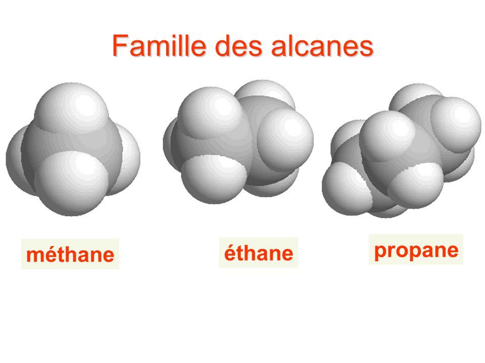 Famille des alcanes propane méthane éthane