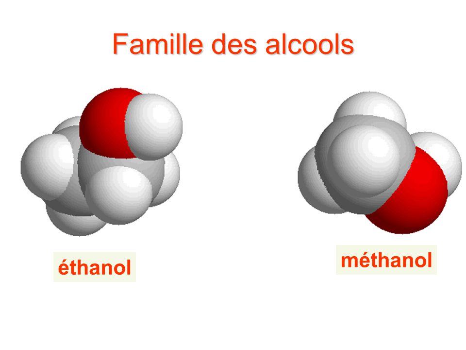 Famille des alcools méthanol éthanol