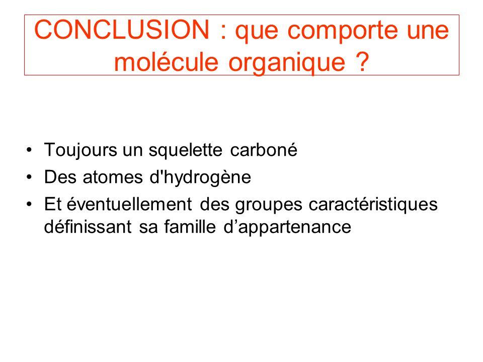CONCLUSION : que comporte une molécule organique