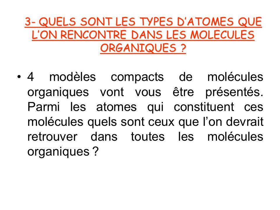 3- QUELS SONT LES TYPES D'ATOMES QUE L'ON RENCONTRE DANS LES MOLECULES ORGANIQUES