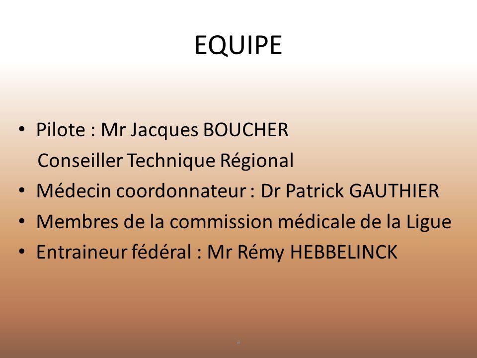 EQUIPE Pilote : Mr Jacques BOUCHER Conseiller Technique Régional