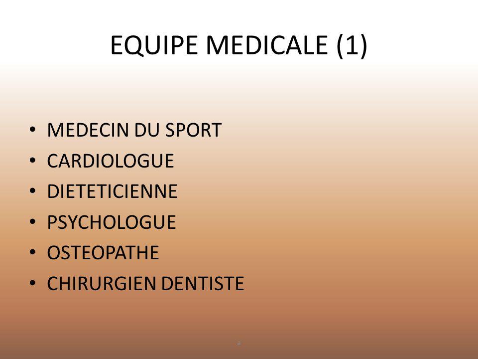 EQUIPE MEDICALE (1) MEDECIN DU SPORT CARDIOLOGUE DIETETICIENNE