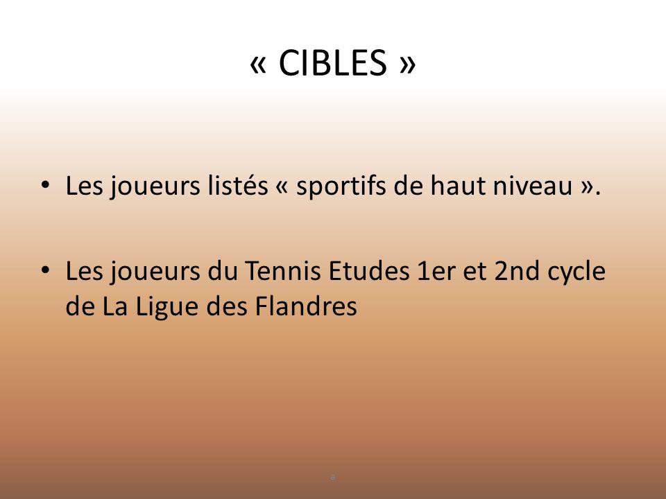 « CIBLES » Les joueurs listés « sportifs de haut niveau ».